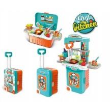 Детская игровая кухня чемодан 008-956A сине оранжевая