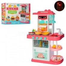 Детская игровая кухня с водой в кране свет звук 889-153-154 бело розовая