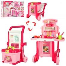 Детская кухня-чемодан на колесах игровой набор 008-927 розовая