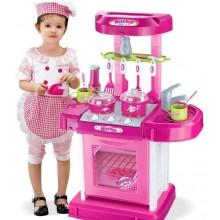 Детская игровая кухня в чемоданчике  008-58 розовая