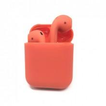 Беспроводные Bluetooth наушники HBQ I12 TWS красные с зарядным футляром