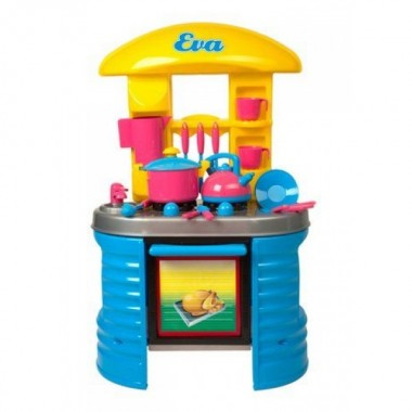 Кухня стол ева игровой набор кinderway 04-404 желто синяя