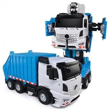 Робот трансформер машина мусоровоз на радиоуправлении Jaki TT676 свет звук говорит мигает фарами